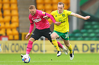 3rd October 2020; Carrow Road, Norwich, Norfolk, England, English Football League Championship Football, Norwich versus Derby; Oliver Skipp of Norwich City challenges Kamil Jozwiak of Derby County
