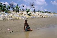 INDIA Bihar, Monsoon flood and submergence at Bagmati river a branch of Ganga River, dyke with sand bags / INDIEN Bihar, Ueberschwemmung am Bagmati Fluss im Monsun, Deich mit Sandsaecken