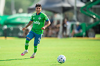 LAKE BUENA VISTA, FL - JULY 14: Raul Ruidiaz #9 of the Seattle Sounders looks at the ball during a game between Seattle Sounders FC and Chicago Fire at Wide World of Sports on July 14, 2020 in Lake Buena Vista, Florida.