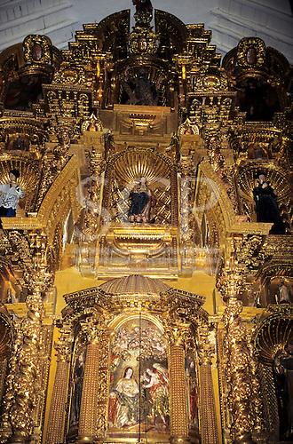Cusco, Peru. Ornate baroque gilt altar piece in San Blas church.