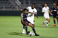 CARY, NC - AUGUST 01: Pecka #7 intercepts a pass meant for Rudolf Mensah #14 during a game between Birmingham Legion FC and North Carolina FC at Sahlen's Stadium at WakeMed Soccer Park on August 01, 2020 in Cary, North Carolina.