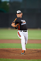 Aberdeen IronBirds relief pitcher Kevin Magee (39) delivers a pitch during a game against the Staten Island Yankees on August 23, 2018 at Leidos Field at Ripken Stadium in Aberdeen, Maryland.  Aberdeen defeated Staten Island 6-2.  (Mike Janes/Four Seam Images)