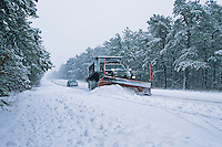 Winter snow storm and plow truck, Chatsworth, New Jersey