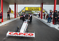Apr 12, 2019; Baytown, TX, USA; NHRA top fuel driver Steve Torrence during qualifying for the Springnationals at Houston Raceway Park. Mandatory Credit: Mark J. Rebilas-USA TODAY Sports
