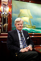 Mikael Krafft, founder and president of Star Clippers, poses for the photographer in the saloon of his yacht Doriana, Hercules port, Monaco, 19th April 2012