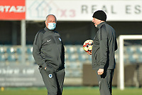 Genk's goalkeeper coach Donald Kuhn (R) with Genk's head coach Guido Brepoels  pictured during a female soccer game between Eendracht Aalst and Racing Genk on the fifth matchday of the 2020 - 2021 season of Belgian Scooore Womens Super League , Saturday 28 th of November 2020  in Aalst , Belgium . PHOTO SPORTPIX.BE | SPP | DIRK VUYLSTEKE