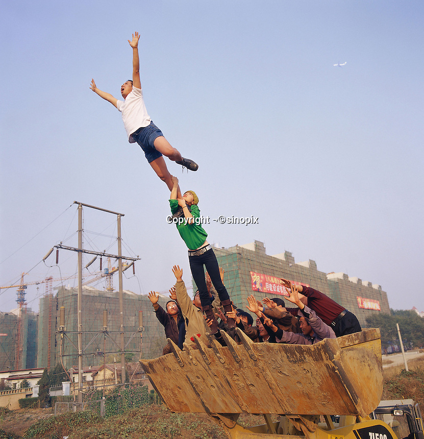 """Li Wei artwork named """"On the surface of the earth"""" in Beijing...PHOTO BY SINOPIX"""