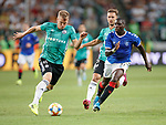22.08.2019 Legia Warsaw v Rangers: Sheyi Ojo and Pawel Stolarski
