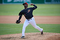 Batavia Muckdogs relief pitcher Edison Suriel (1) during a NY-Penn League game against the Auburn Doubledays on June 19, 2019 at Dwyer Stadium in Batavia, New York.  Batavia defeated Auburn 5-4 in eleven innings in the completion of a game originally started on June 15th that was postponed due to inclement weather.  (Mike Janes/Four Seam Images)
