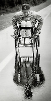 Home stretch: On his 29th birthday yesterday, Rick Hansen left St. John's Nfld., and rolled along Trans-Canada Highway toward Vancouver, where he began his around-world journey.<br /> <br /> Photo : Boris Spremo - Toronto Star archives - AQP