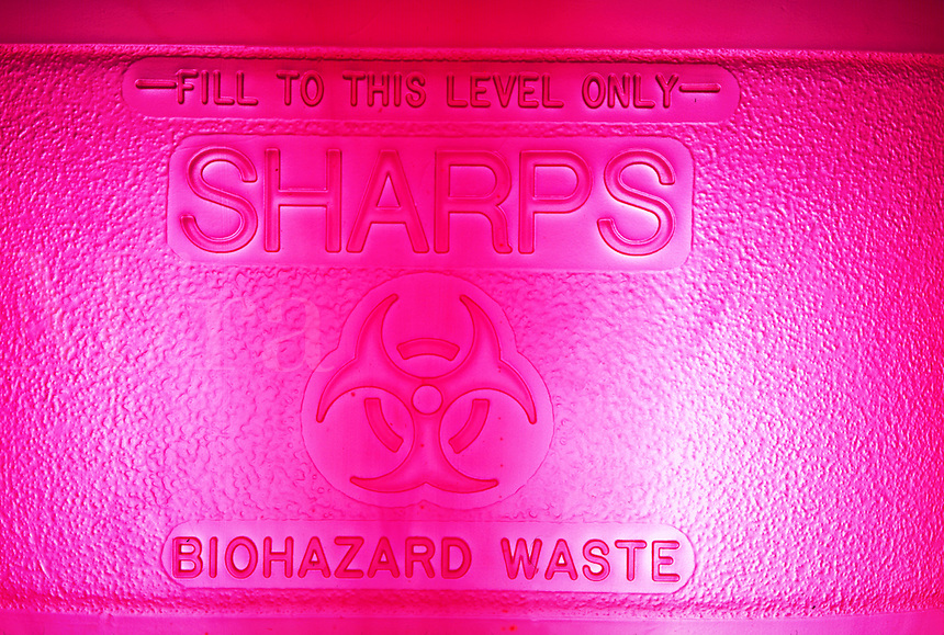 Sharps biohazard container