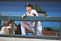 Charlotte Knights manager Mark Grudzielanek (15) watches the action from the dugout during the game against the Toledo Mud Hens at BB&T BallPark on June 22, 2018 in Charlotte, North Carolina. The Mud Hens defeated the Knights 4-0.  (Brian Westerholt/Four Seam Images)