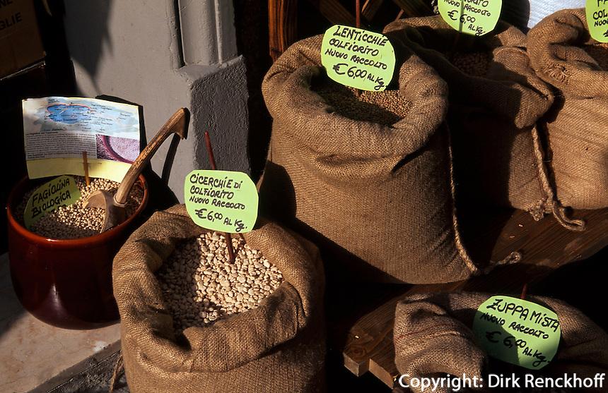 Castiglione del Lago, Verkauf von Hülsenfrüchten, Umbrien, Italien