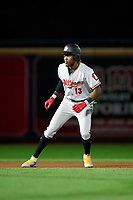 Altoona Curve Oneil Cruz (13) leads off second base during a game against the Akron RubberDucks on September 5, 2021 at Canal Park in Akron, Ohio.  (Mike Janes/Four Seam Images)