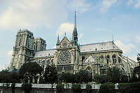 South side of Notre Dame Cathedral from quai across Seine. Paris, France.