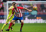 Jorge Resurreccion Merodio, Koke (R), of Atletico de Madrid competes for the ball with Francisco Portillo Soler of Getafe CF during the La Liga 2017-18 match between Atletico de Madrid and Getafe CF at Wanda Metropolitano on January 06 2018 in Madrid, Spain. Photo by Diego Gonzalez / Power Sport Images