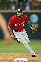 Oklahoma City RedHawks shortstop Angel Sanchez #36 on defense during the Pacific Coast League baseball game against the Round Rock Express on June 15, 2012 at the Dell Diamond in Round Rock, Texas. The Express shutout the RedHawks 2-1. (Andrew Woolley/Four Seam Images).