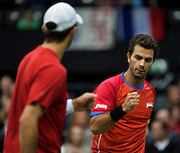 Rotterdam, The Netherlands. 16.02.2014. Horia Tecau(ROE) and Jean-Julien Rojer(NED) at the ABN AMRO World tennis Tournament<br /> Photo:Tennisimages/Henk Koster