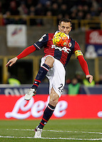 Calcio, Serie A:  Bologna vs Juventus. Bologna, stadio Renato Dall'Ara, 19 febbraio 2016. <br /> Bologna's Daniele Gastaldello controls the ball during the Italian Serie A football match between Bologna and Juventus at Bologna's Renato Dall'Ara stadium, 19 February 2016.<br /> UPDATE IMAGES PRESS/Isabella Bonotto