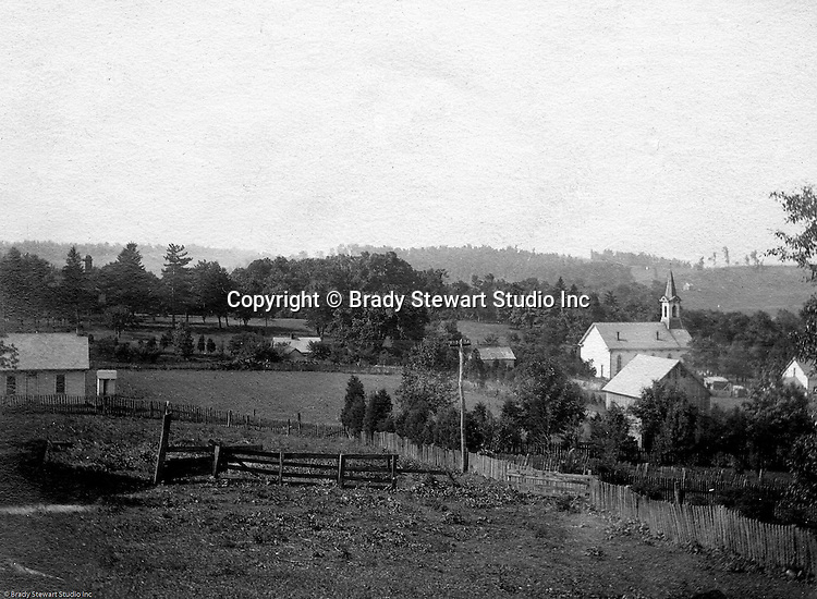 Hopedale Ohio: While taking progress photographs for the Wabash railroad, Brady Stewart stopped to capture this photo of the town of Hopedale.