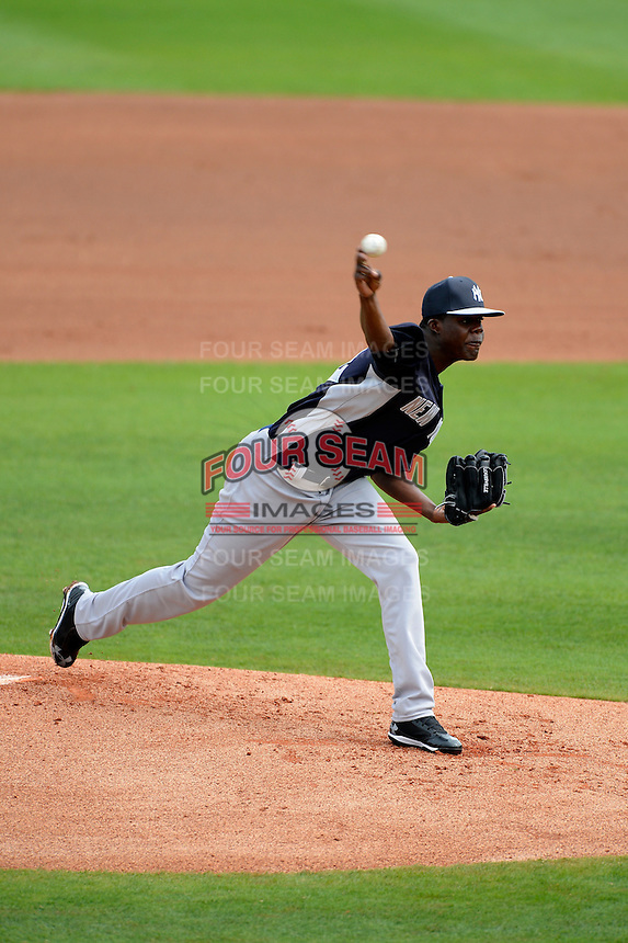 New York Yankees pitcher Jose Ramirez #72 during a Spring Training game against the Philadelphia Phillies at Bright House Field on February 26, 2013 in Clearwater, Florida.  Philadelphia defeated New York 4-3.  (Mike Janes/Four Seam Images)