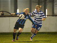 20140326 - AALTER , BELGIUM : Brugge's Jana Coryn (l) pictured with Gent Maaike Trommelmans (r)  during the soccer match between the women teams of Club Brugge Vrouwen  and AA Gent  Ladies , on the 21th matchday of the BeNeleague competition Friday 14 March 2014 in Aalter. PHOTO DAVID CATRY