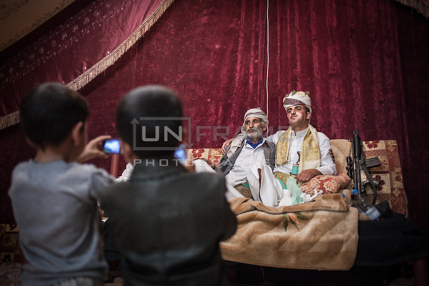 The groom and his father. A wedding in Thula, Amran province.