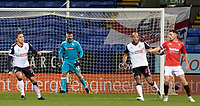 Bolton Wanderers' goalkeeper/coach Matthew Gilks organises his defence<br /> <br /> Photographer Andrew Kearns/CameraSport<br /> <br /> The EFL Sky Bet League Two - Bolton Wanderers v Salford City - Friday 13th November 2020 - University of Bolton Stadium - Bolton<br /> <br /> World Copyright © 2020 CameraSport. All rights reserved. 43 Linden Ave. Countesthorpe. Leicester. England. LE8 5PG - Tel: +44 (0) 116 277 4147 - admin@camerasport.com - www.camerasport.com