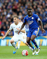 Jeffrey Schlupp of Leicester City during the Barclays Premier League match between Leicester City and Swansea City played at The King Power Stadium, Leicester on April 24th 2016