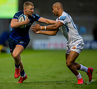 21st August 2020; AJ Bell Stadium, Salford, Lancashire, England; English Premiership Rugby, Sale Sharks versus Exeter Chiefs; Olly Woodburn of Exeter Chiefs tackles Robert du Preez of Sale Sharks