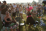 Derby Day Horse Racing. Epsom Downs, Surrey, England 2007. dancing on The Hill after the racing.