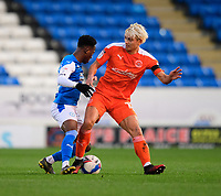 Peterborough United's Siriki Dembele is tackled by Blackpool's Kenny Dougall<br /> <br /> Photographer Chris Vaughan/CameraSport<br /> <br /> The EFL Sky Bet League One - Peterborough United v Blackpool - Saturday 21st November 2020 - London Road Stadium - Peterborough<br /> <br /> World Copyright © 2020 CameraSport. All rights reserved. 43 Linden Ave. Countesthorpe. Leicester. England. LE8 5PG - Tel: +44 (0) 116 277 4147 - admin@camerasport.com - www.camerasport.com