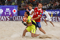 29th August 2021; Luzhniki Stadium, Moscow, Russia: FIFA World Cup Beach Football tournament; Russia versus Japan;  Fedor Zemskov of Russia challenges Yusuke Kawai of Japan, during the match between Russia and Japan