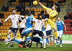 St Johnstone v Ross County…24.10.17…  McDiarmid Park…  SPFL<br />Scott Fox clears from Joe Shaughnessy<br />Picture by Graeme Hart. <br />Copyright Perthshire Picture Agency<br />Tel: 01738 623350  Mobile: 07990 594431