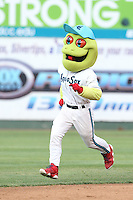 Everett AquaSox mascot Webbly runs the bases between innings of a game against the Spokane Indians at Everett Memorial Stadium on July 25, 2015 in Everett, Washington. Spokane defeated Everett, 10-1. (Larry Goren/Four Seam Images)