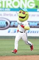 Everett AquaSox mascot Webbly runs the bases between innings of a game against the Spokane Indians at Everett Memorial Stadium on July 25, 2015 in Everett, Washington. Spokane defeated Everett, 10-1. (Larry Goren/Four Seam Images)