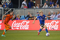SAN JOSE, CA - JULY 24: Florian Jungwirth #23 of the San Jose Earthquakes during a game between Houston Dynamo and San Jose Earthquakes at PayPal Park on July 24, 2021 in San Jose, California.