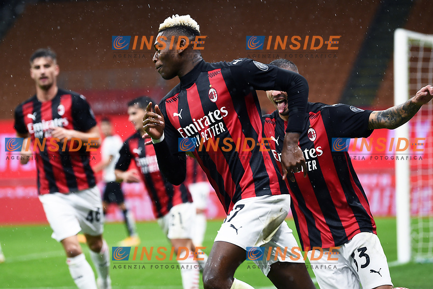 Rafael Leao of AC Milan celebrates after scoring a goal during the Serie A football match between AC Milan and Spezia Calcio at San Siro Stadium in Milano  (Italy), October 4th, 2020. Photo Image Sport / Insidefoto