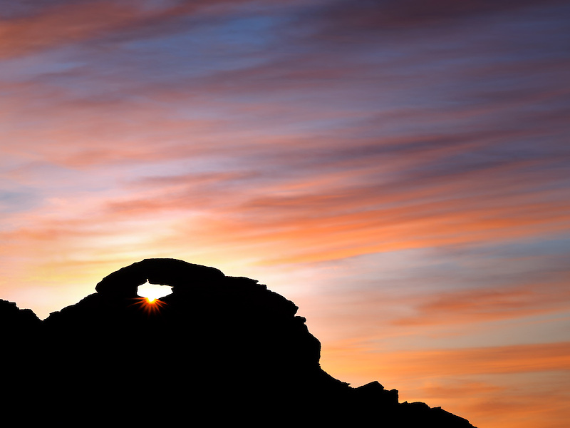 Arch with sunrise. Valley of Fire State Park, Nevada