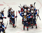 December 14, 2019:  Team USA celebrates after their third goal, defeating Canada 4-1. The feisty opening game of a five-match series took place at the XL Center in Hartford, Connecticut. Heary/Eclipse Sportswire/CSM