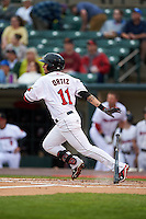 Rochester Red Wings outfielder Danny Ortiz (11) at bat during a game against the Lehigh Valley IronPigs on May 15, 2015 at Frontier Field in Rochester, New York.  Rochester defeated Lehigh Valley 5-4.  (Mike Janes/Four Seam Images)