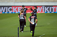 NZ's Sophie Devine celebrates catching Danni Wyatt during the first international women's T20 cricket match between the New Zealand White Ferns and England at Sky Stadium in Wellington, New Zealand on Wednesday, 3 March 2021. Photo: Dave Lintott / lintottphoto.co.nz
