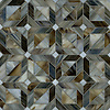 Rubrik, a jewel glass waterjet mosaic shown in Pearl, Schist, and Lavastone, is part of the Parquet Collection by New Ravenna.