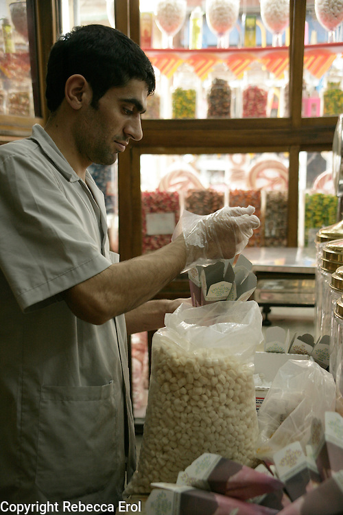 Traditional sweetie shop, Istanbul, Turkey. Sweets being prepared for the Sweet Festival after Ramazan