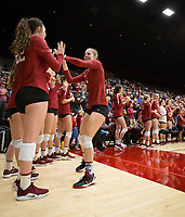 STANFORD, CA - NOVEMBER 17: Stanford, CA - November 17, 2019: Meghan McClure, Caitie Baird at Maples Pavilion. #4 Stanford Cardinal defeated UCLA in straight sets in a match honoring neurodiversity. during a game between UCLA and Stanford Volleyball W at Maples Pavilion on November 17, 2019 in Stanford, California.