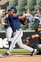Christian Bethancourt #19 of the Rome Braves follows through on his swing against the Kannapolis Intimidators at Fieldcrest Cannon Stadium April 11, 2010, in Kannapolis, North Carolina.  Photo by Brian Westerholt / Four Seam Images