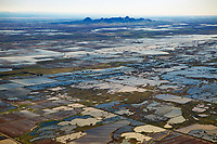 aerial photograph of  Delevan National Wildlife Refuge part of the Sacramento National Wildlife Complex toward the Sutter Buttes in the northern portion of California's Central Valley; the Sutter Buttes are visible in the background