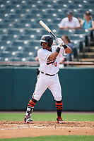 Bowie Baysox Jesmuel Valentin (10) at bat during an Eastern League game against the Akron RubberDucks on May 30, 2019 at Prince George's Stadium in Bowie, Maryland.  Akron defeated Bowie 9-5.  (Mike Janes/Four Seam Images)