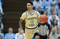 CHAPEL HILL, NC - JANUARY 4: Michael Devoe #0 of Georgia Tech brings the ball up the court during a game between Georgia Tech and North Carolina at Dean E. Smith Center on January 4, 2020 in Chapel Hill, North Carolina.