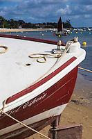 France, Gironde (33), Bassin d'Arcachon, Le Cap-Ferret, Pinasse au Village des pêcheurs// France, Gironde, Bassin d'Arcachon, Le Cap Ferret, Pinasse, typical boat, Fisherman village